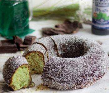 torta menta cocco glassata al cioccolato