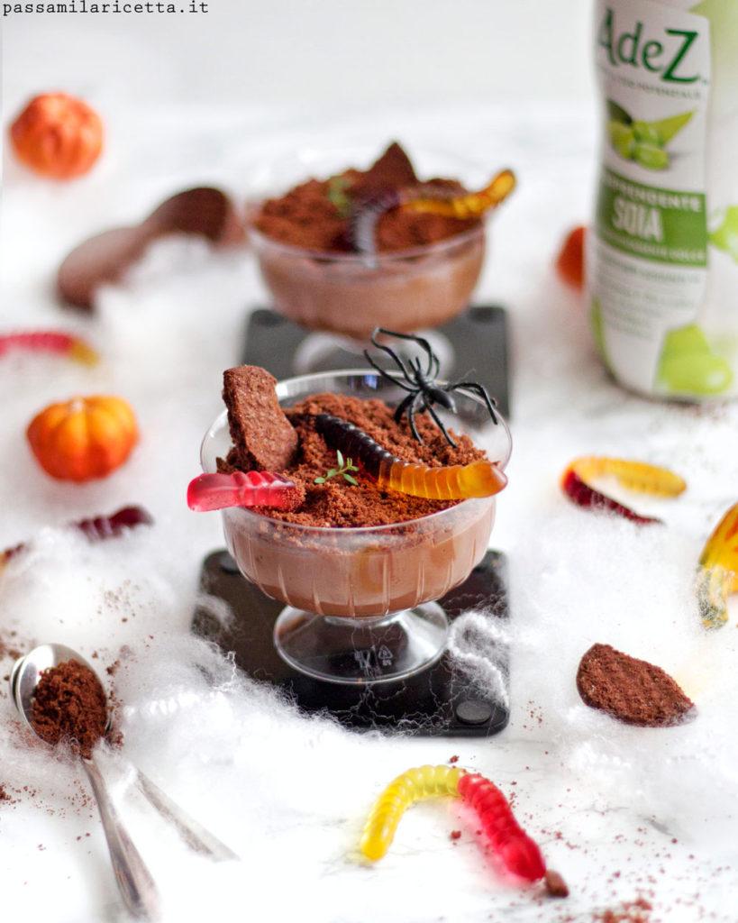 budino vegan al cioccolato per halloween
