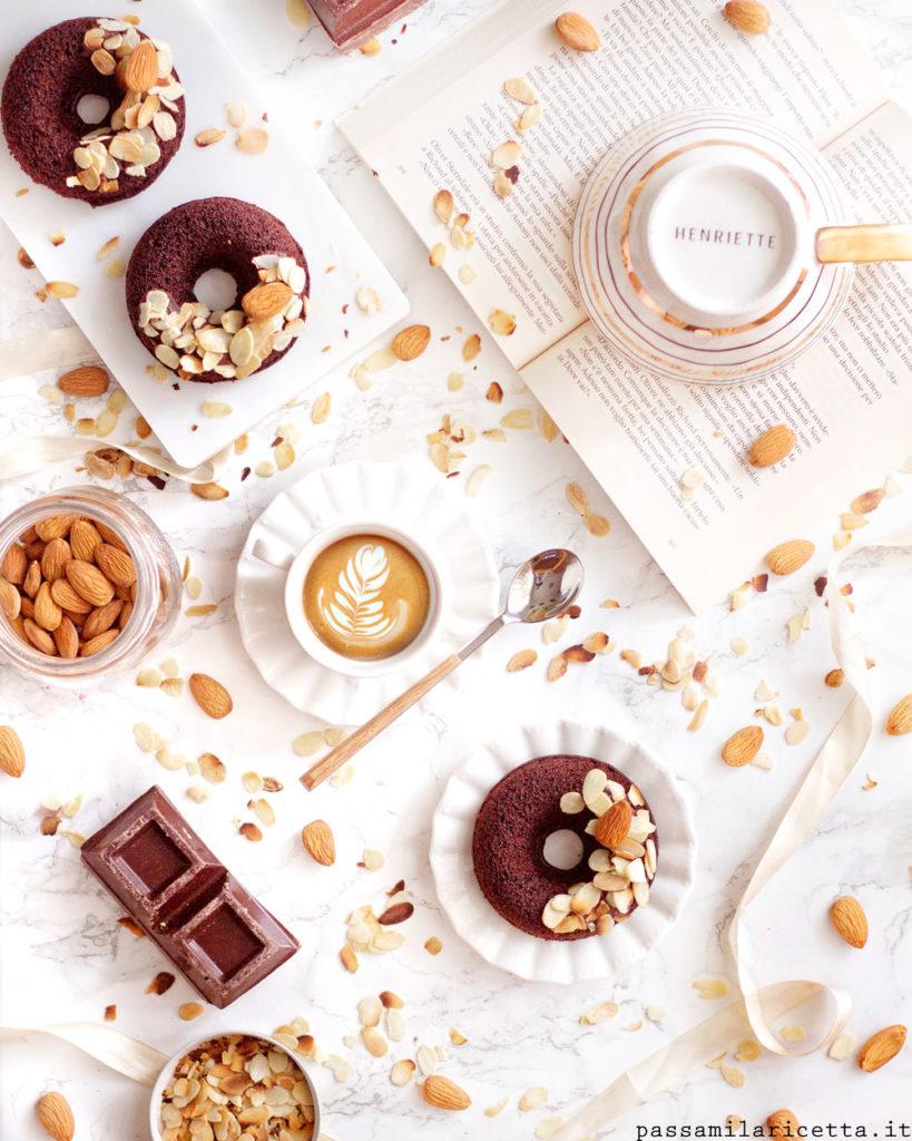 ciambelle vegan al cioccolato con latte di mandorla