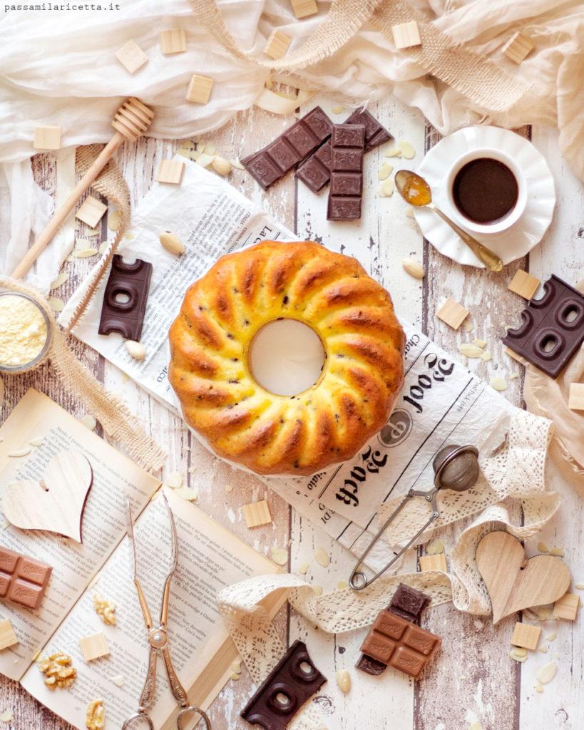 ciambellone con farina di mais e gocce di cioccolato
