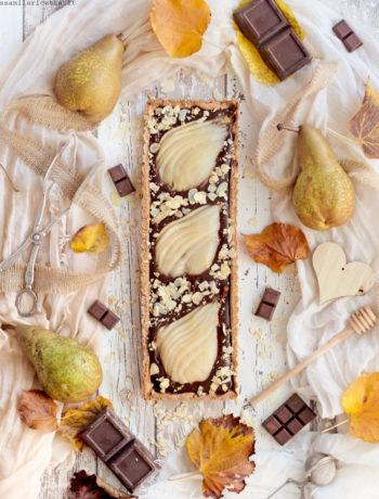 crostata alle pere e cioccolato fondente con ganache